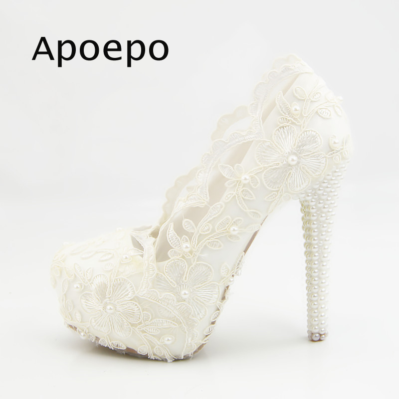 Apoepo White Lace Flower Embroidery High Heel Shoes 2018 White Pearls Beaded Wedding Heels For Woman Sexy Platform Pumps ivory fashion lace flowers flat heel wedding shoes woman pearls ankle beading beaded anklet sweet flower girls bridesmaid shoes