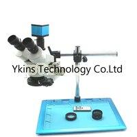 3.5X 90X Trinocular stereo microscope With single arm aluminum table +16MP 1080P HDMI USB TF Card output IR industrial camera