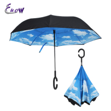 Euow Wholesale 2017 Women's Creative Inverted Umbrella Couple's Long-Handled Rain Sky Flower Colorful Reverse Umbrellas For Car