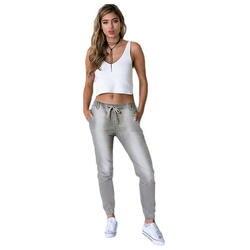 Женские свободные повседневные джинсовые брюки со средней талией на шнуровке эластичные потертые джинсы для женщин