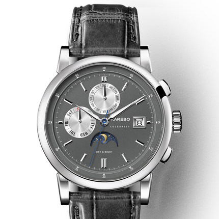 KAREBO Triple Windows Automatic Self-Hand Wind Mens Fashion Business Wristwatch Watch - Silver Case Grey Dial
