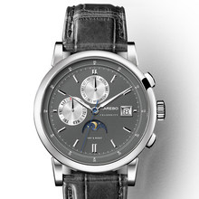 купить KAREBO Triple Windows Moon Phase Automatic Self-Hand Wind Mens Fashion Business Wristwatch - Silver Case Grey Dial дешево