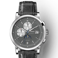 KAREBO Triple Windows Automatic Self Hand Wind Mens Fashion Business Wristwatch Watch Silver Case Grey Dial