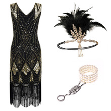1920s Flapper Dress Great Gatsby Party Evening Sequins Fring