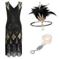 1920s Flapper robe magnifique Gatsby soirée paillettes franges robes robe