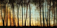 Landscape art trees, Colors paintings,Golden Forest,Large canvas, High quality ,home decor, handmade
