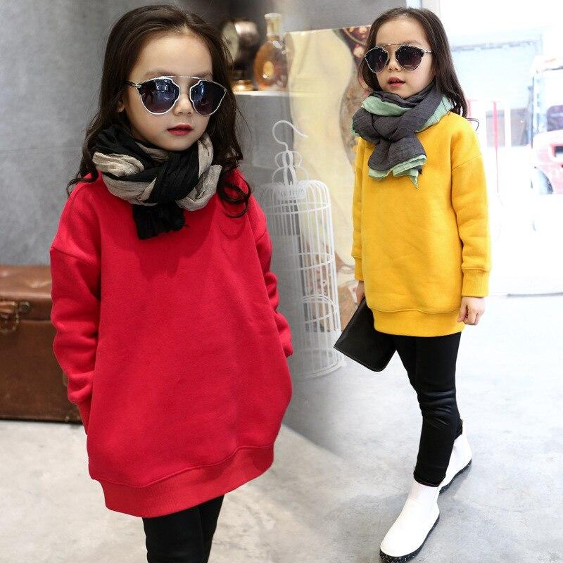 Spring Fleece Girls Korean Edition Wool Children's Sweater Christmas Hot Kids Clothing T-shirt Thicken Red Yellow Cotton
