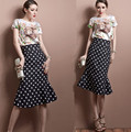 Runway Designer Set Suits Women's High Quality Vintage Retro Floral Print Tops Blouses + Empire Polka Dot Ruffles Skirts NS348