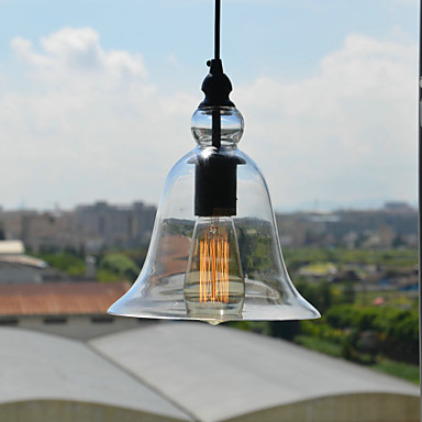 Retro Loft Style Edison Bulb Vintage Industrial Pendant Light Lamp with Bell Desgined Glass Shade loft vintage edison glass light ceiling lamp cafe dining bar club aisle t300