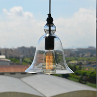 Retro Loft Style Edison Bulb Vintage Industrial Pendant Light Lamp With Bell Desgined Glass Shade