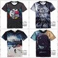Высокое качество молодежная мода 3D тенденция случайный стиль цифровой печати с коротким рукавом шею мальчик футболка 11-19 лет