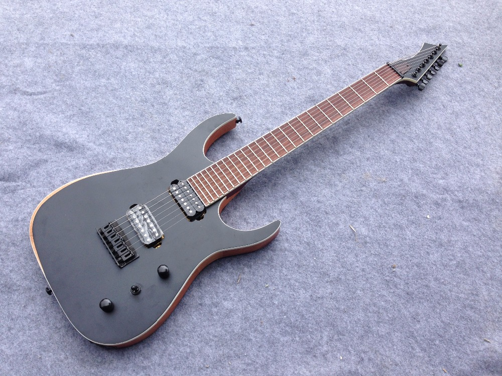 Customized 7 strings electric guitar matt black color strings thru body bridge