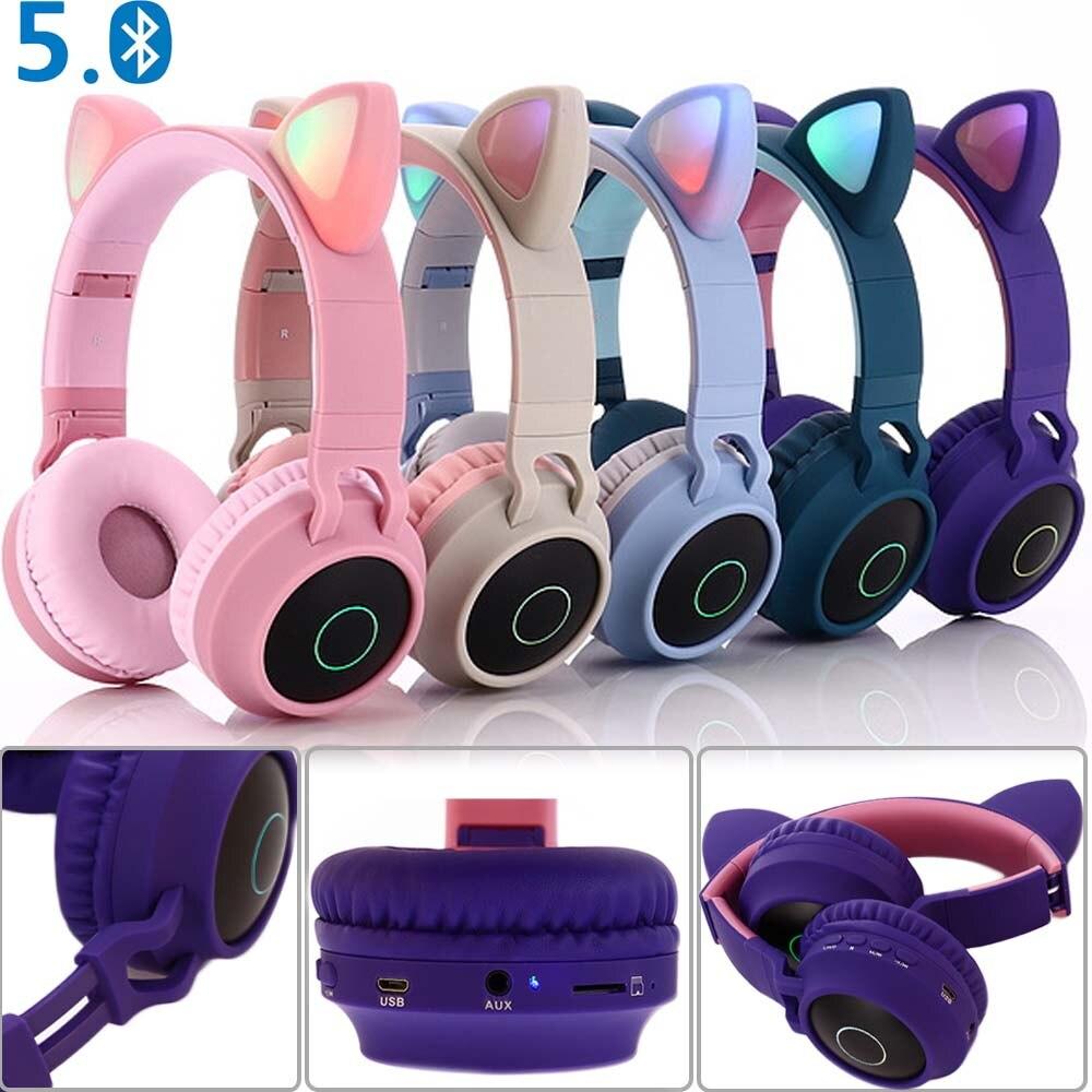 JINSERTA Orelha de Gato LED Glowing Luz Handsfree Fone de Ouvido Bluetooth Fone De Ouvido Bluetooth 5.0 Infantis Fones De Ouvido Fones de ouvido de Jogos para PC C