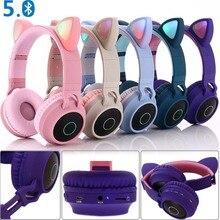 Bluetooth наушники JINSERTA «кошачьи уши» со светодиодной подсветкой и поддержкой Bluetooth 5,0