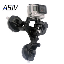 Low Angle Removable Suction Cup Tripod Mount with ball head holder 3x Suckers Fixation for Gopro Hero 2 3 3+ 4 Camera
