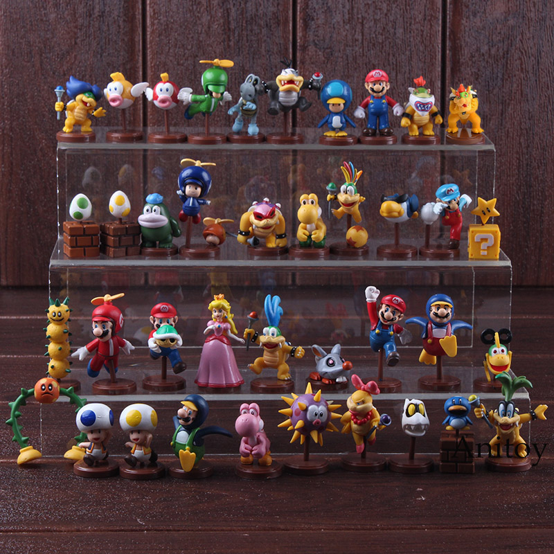 Furuta Super Mario Bros Wii Peach Toad Bowser JR Wendy Iggy Lemmy Luigi Mario Figure Action PVC Collectible Model Toy 13pcs/set super mario bros bowser princess peach yoshi luigi toad goomba pvc action figure toy model