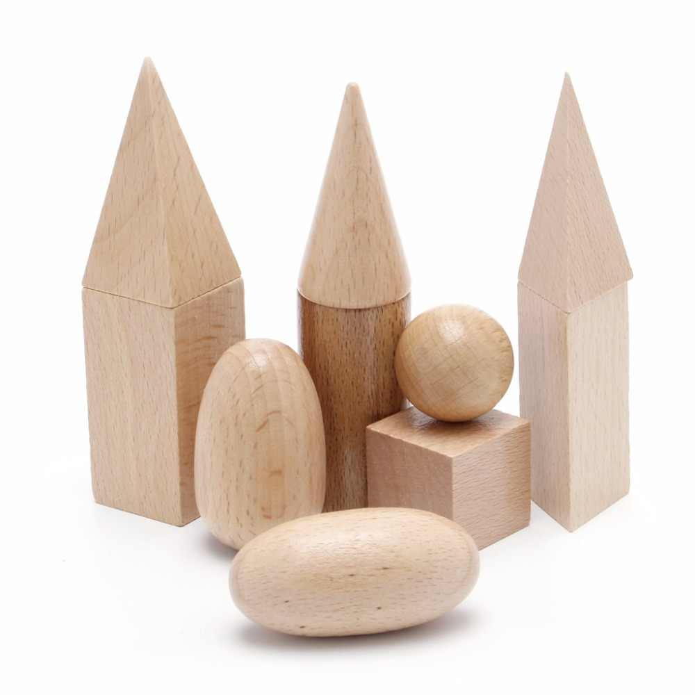 Wooden Geometric Solids 3-D Shapes Montessori Learning Resources for School Home