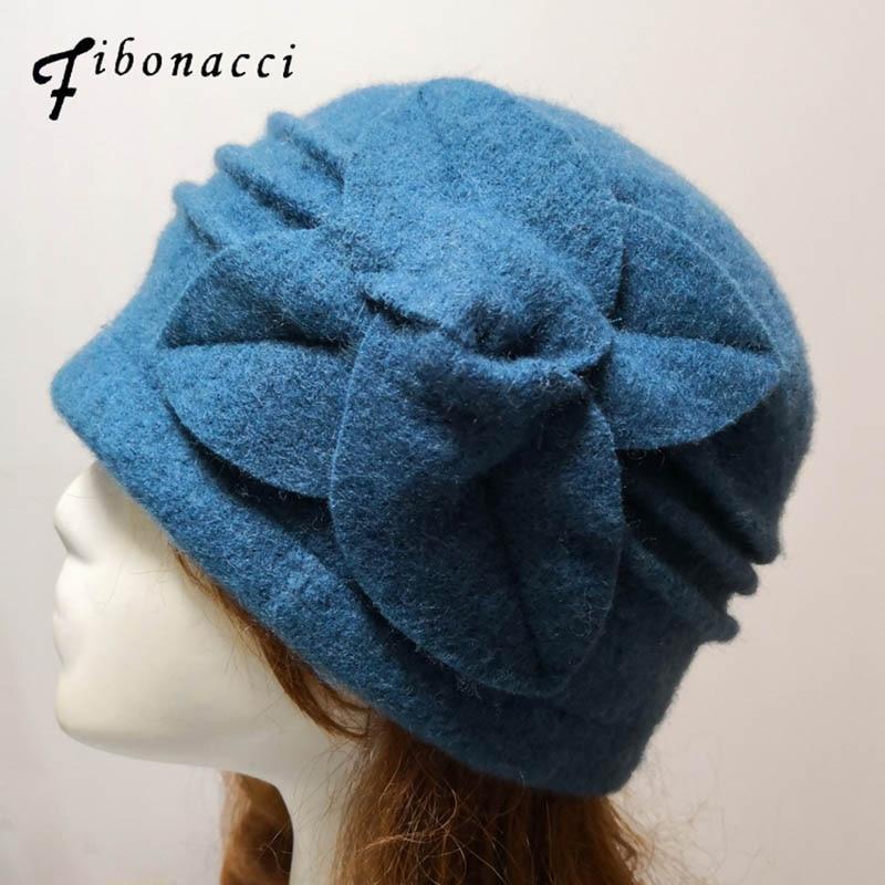 Женская шляпа федора Фибоначчи среднего возраста, теплые шерстяные шапки с цветочным принтом для мам, модные шапки для осени и зимы Женские фетровые шляпы      АлиЭкспресс