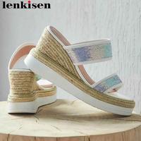 Lenkisen sequined cloth cow leather wedges platform high heels peep round toe straw decoration retro leisure gladiator shoes L01