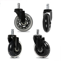 5Pcs 2 5Inch PU Furniture Casters 360 Degree Swivel Mute For Office Computer Chair Adjustable Rolling