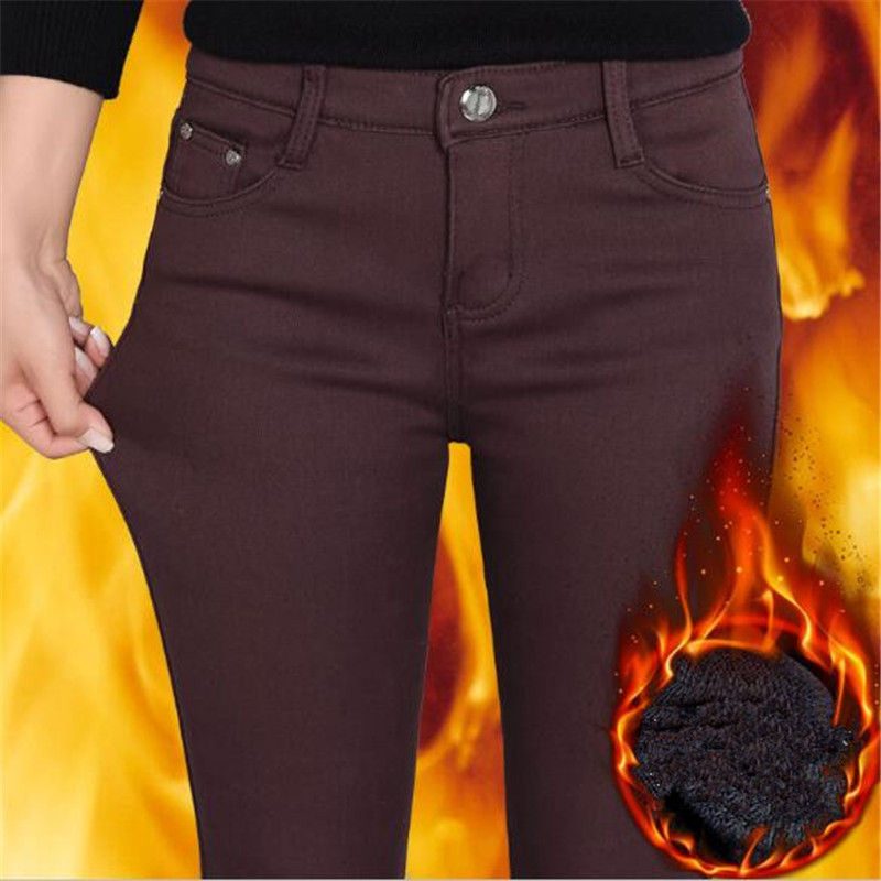 WKOUD Women Winter Warm Pants Thickening Fleece Skinny Pencil Pants Female Stretch Leggings Solid Plus Size Streetpants P8572