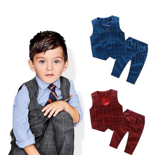 Kids Children sets Boys Gentleman Suit Sets Plaid Vest Tops+Long Pants Trousers Outfits Boys ' gentlemen's Plaid vest pants suit