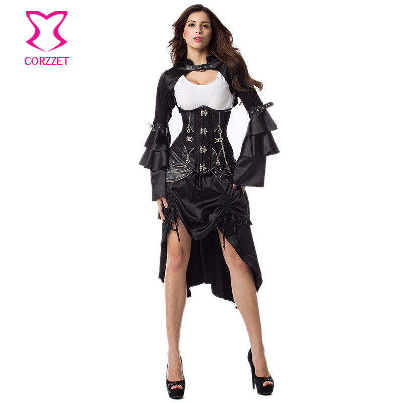 Punk Rock Chain Rivet Steel Boned Underbust Corset Black Jacket Skirt Outfits Corsets and Bustiers Steampunk Gothic Clothing