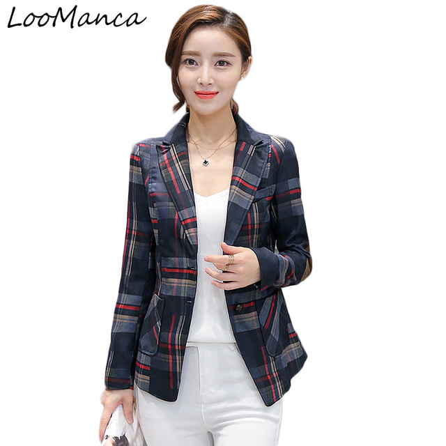 ce148884288 Women Plaid Blazer 2019 New Fashion Outerwear Slim Fit blazers and jackets  Female Blaser Feminino mujer femme office blazer