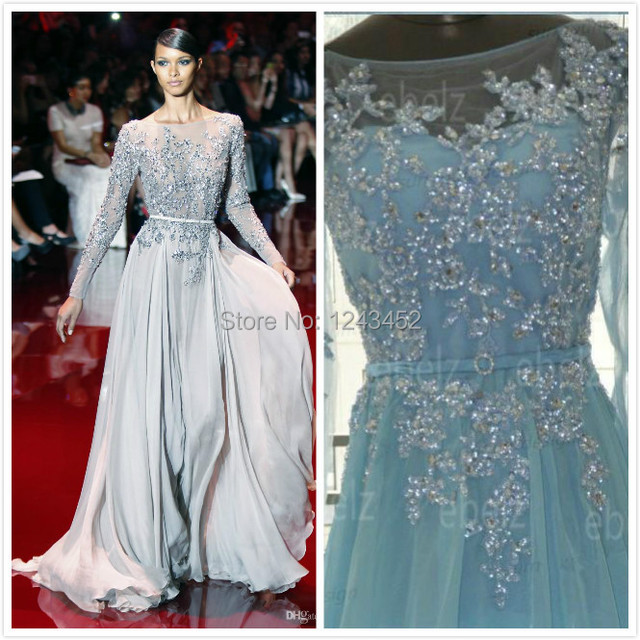 Real Image Elie Saab Winter Silver Blue Lace Beads Long Chiffon ...