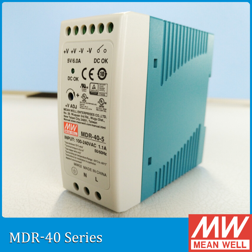 Original Meanwell MDR-40-5 30W 6A 5V Industrial DIN Rail mean well Power Supply MDR-40 [freeshiping 12pcs] mean well original mdr 40 24 24v 0 83a meanwell mdr 40 39 8w single output industrial din rail power supply