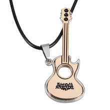 New Lovely Guitar Pendant Necklace Boy Girl Jewelry Unisex Titanium Steel