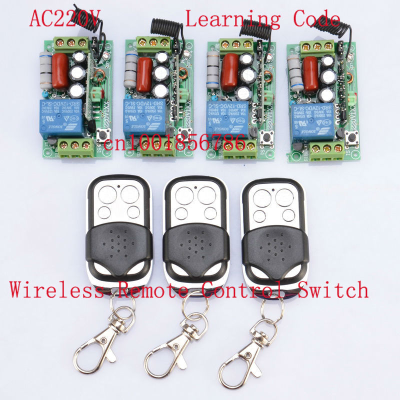 AC220V 1CH 10A 1000W RF Wireless Push Remote Control Light Switch System 4Receiver 3Transmitter Toggle Momentary Latched 315 433mhz 12v 2ch remote control light on off switch 3transmitter 1receiver momentary toggle latched with relay indicator