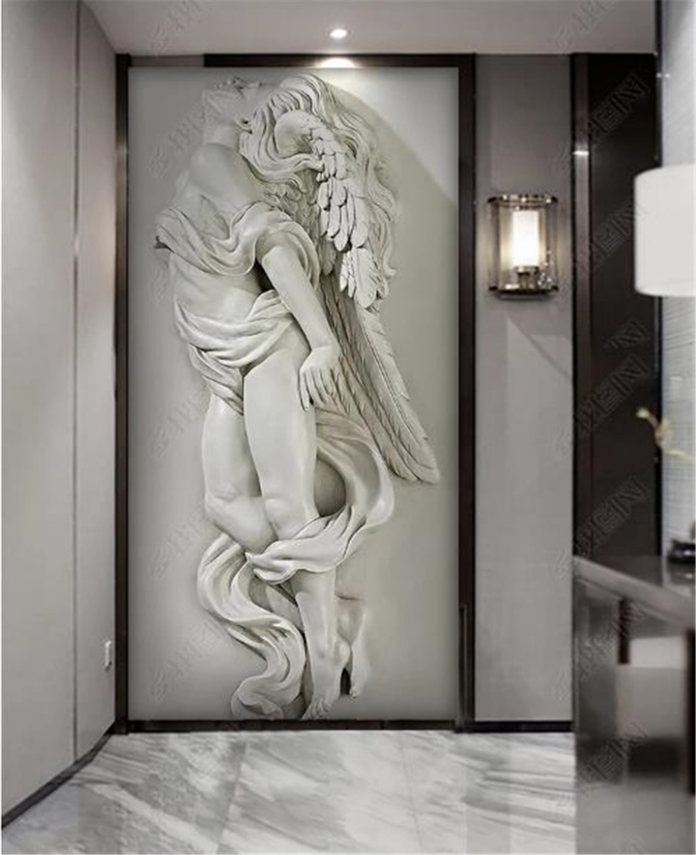 3D Wallpaper Custom 3D Three-Dimensional Embossed Beauty Angel Porch Background Wall Decoration Mural Wallpaper