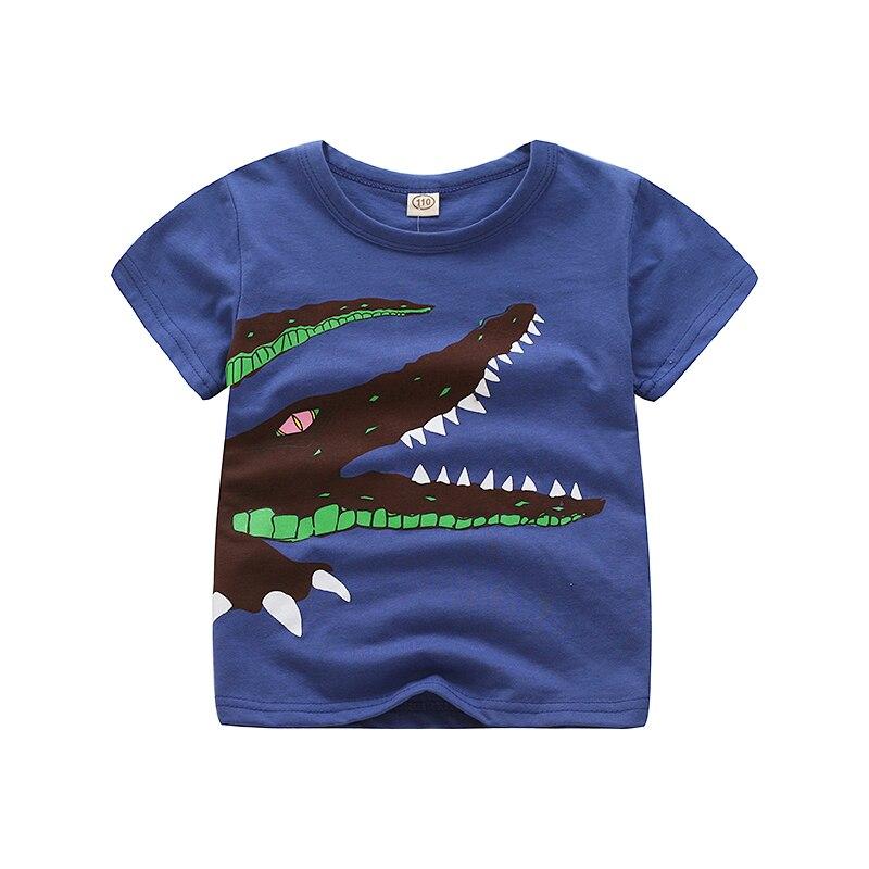 V-TREE; летние рубашки для мальчиков; хлопковые детские футболки; цветные топы для девочек; детская блузка с короткими рукавами; футболки для малышей; одежда для малышей - Цвет: blue crocodile