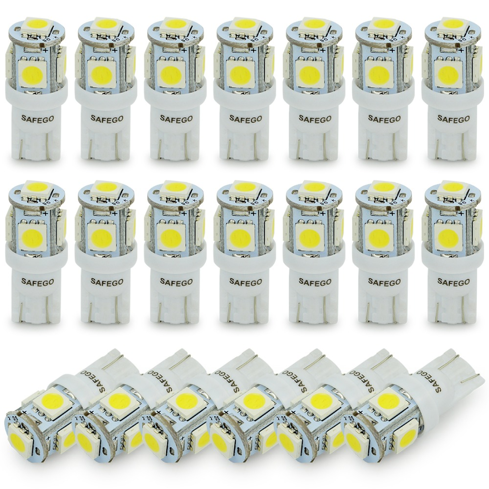 safego 20x T10 5050 5SMD LED Car Light t10 194 168 W5W Car Side Wedge Tail Light Lamp Bulb white yellow red blue green pink 12V scoe t10 w5w dc12v 20smd 5050led car styling led light bulb source blue crystal blue green red yellow white warm white 168 194
