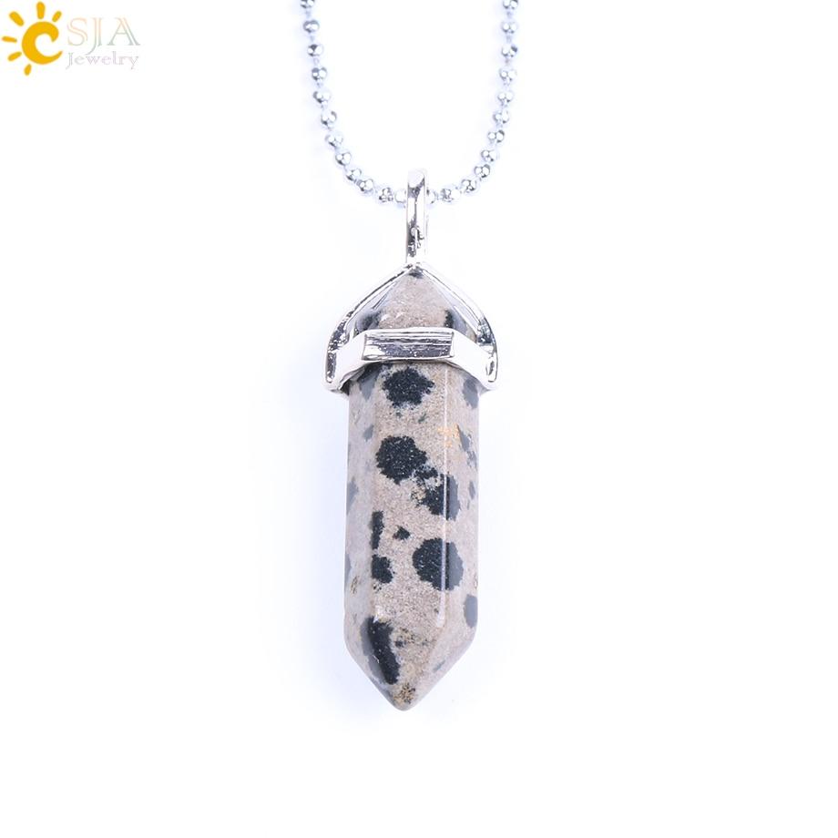 CSJA Real Raw Gem Pink Purple Crystal Hexagonal Bullet Reiki Point Chakra Natural Stone Pendant 2016 Necklace Women Jewelry E056 5