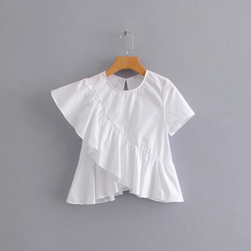 2019 Women Korean Sweet Solid Color Ruffles Casual Irregular Blouse Shirts Women Short Sleeve Blusas Summer White Tops LS3883