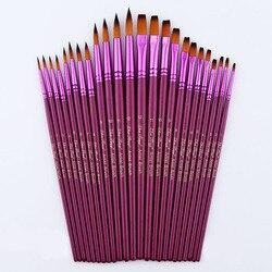 12/24 pces artista diferente tamanho fino náilon cabelo pincel de pintura conjunto para aquarela acrílico pintura a óleo pincéis desenho arte suprimentos