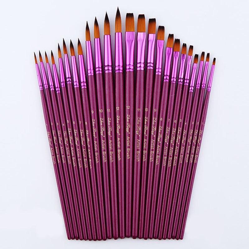 12/24 stücke Künstler Verschiedene Größe Feine Nylon Haar Pinsel Set für Aquarell Acryl Öl Malerei Pinsel Zeichnung kunst Liefert