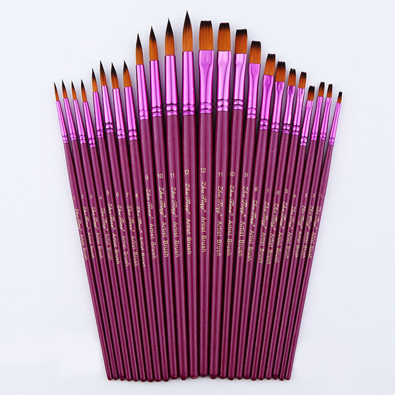 12/24Pcs Artist Different Size Fine Nylon Hair Paint Brush Set for Watercolor Acrylic Oil Painting Brushes Drawing Art Supplies 14pcs different shape acrylic oil painting brush suit wooden handle brushes drawing tool paint pen with bag art supplies