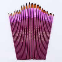 Juego de pinceles de pintura de pelo de nailon fino de diferentes tamaños para pinceles de pintura al óleo de acuarela de 12/24 piezas