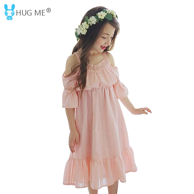 5 to 14 Years Teen Girls Cotton Summer Dress Half Sleeve Cold Shoulder Ruffle Dress Kids White Pink Princess Dress with Lace
