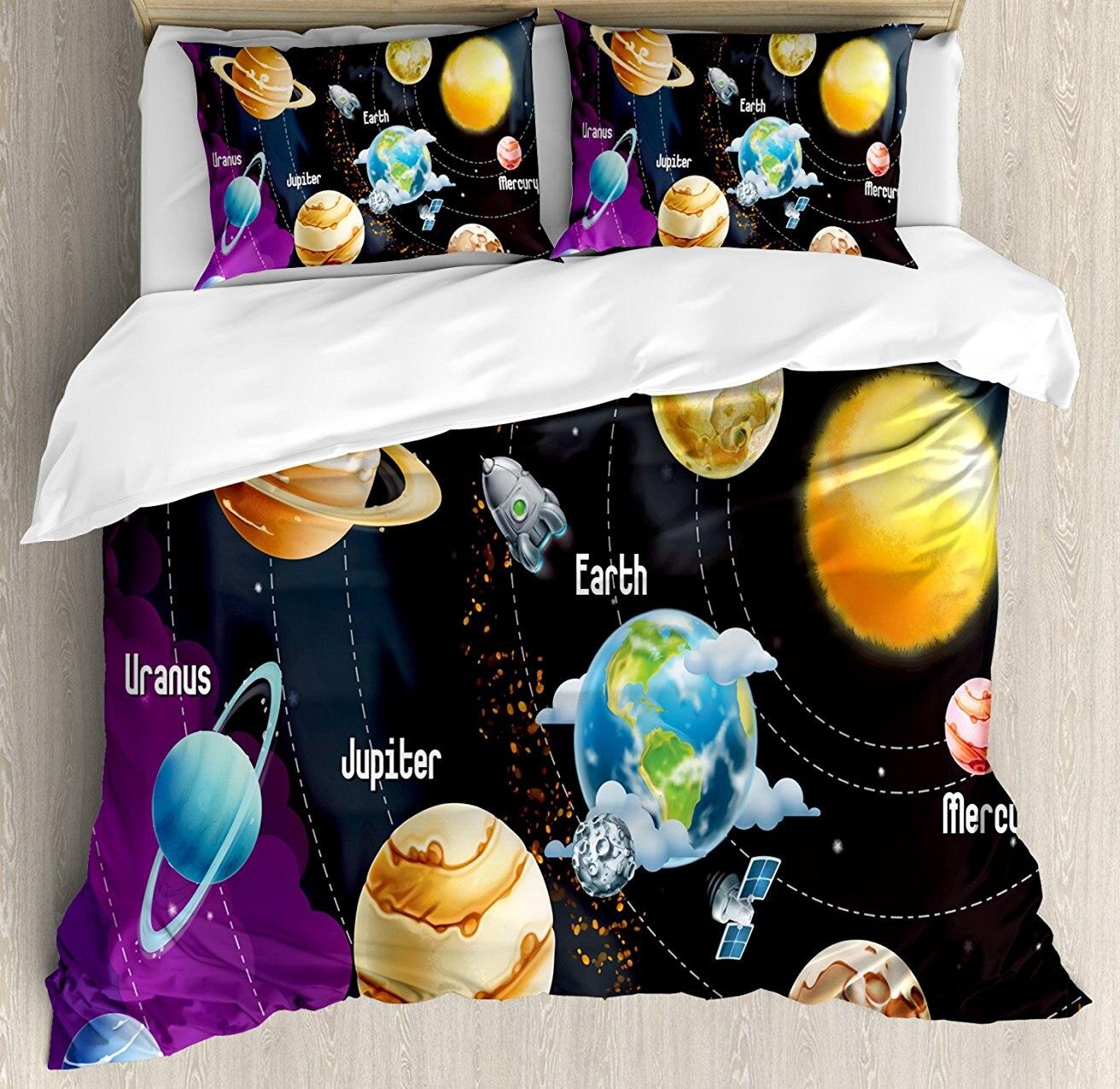 Espace extérieur housse de couette ensemble système solaire de planètes voie lactée Neptune vénus mercure sphère Illustration 4 pièce ensemble de literie