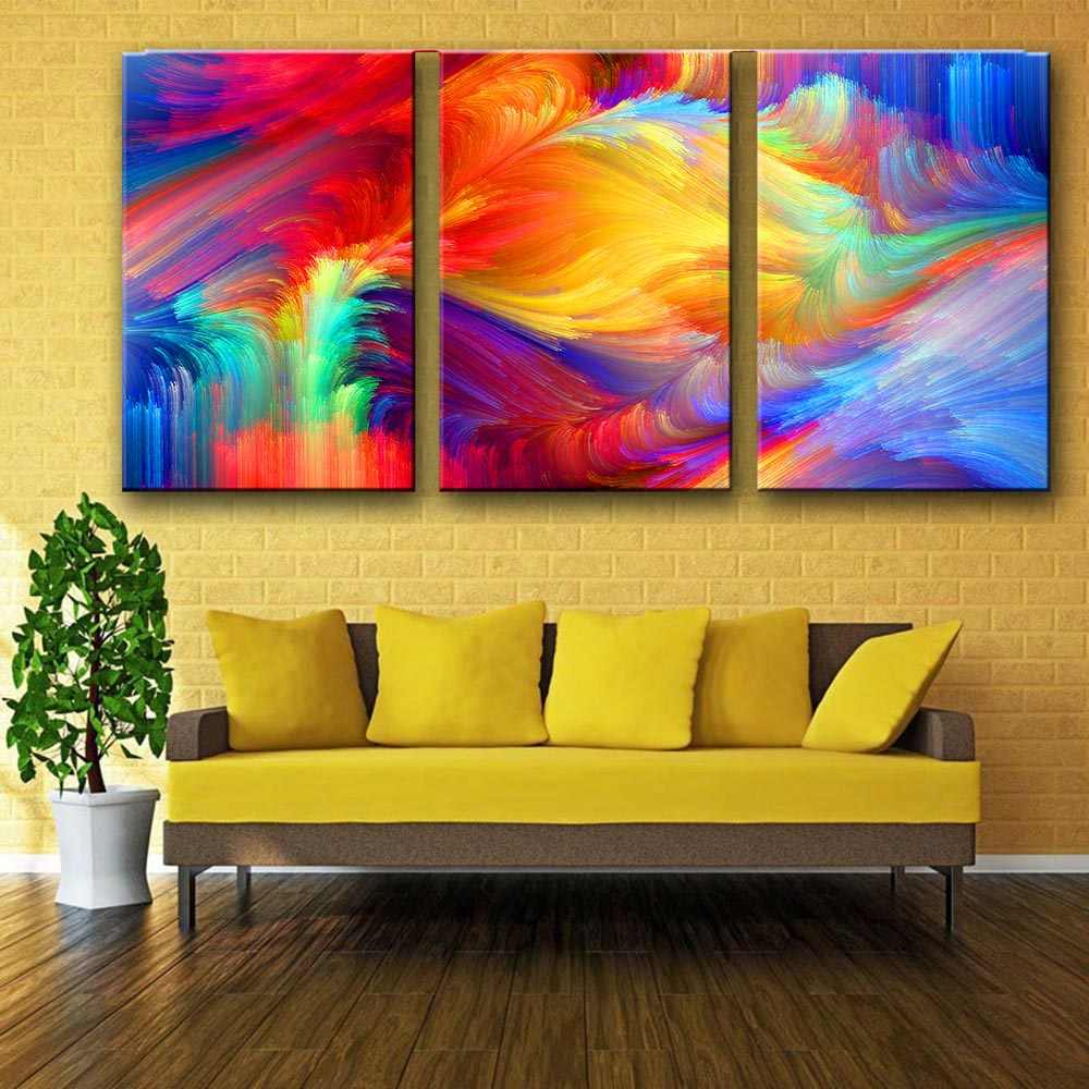 AAVV Canvas Art Abstract Painting Spot The Pattern Paint The Rainbow Home Decoration Wall Pictures For Living Room