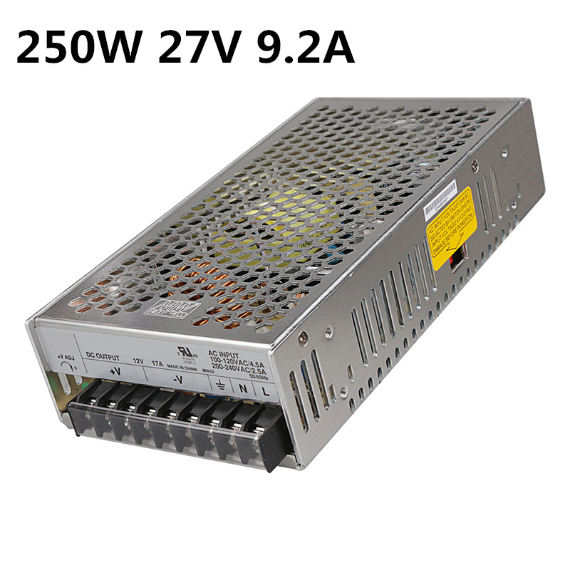250W 27V 9.2A Single Output Switching power supply for LED Strip light AC to DC single output uninterruptible adjustable 24v 150w switching power supply unit 110v 240vac to dc smps for led strip light cnc
