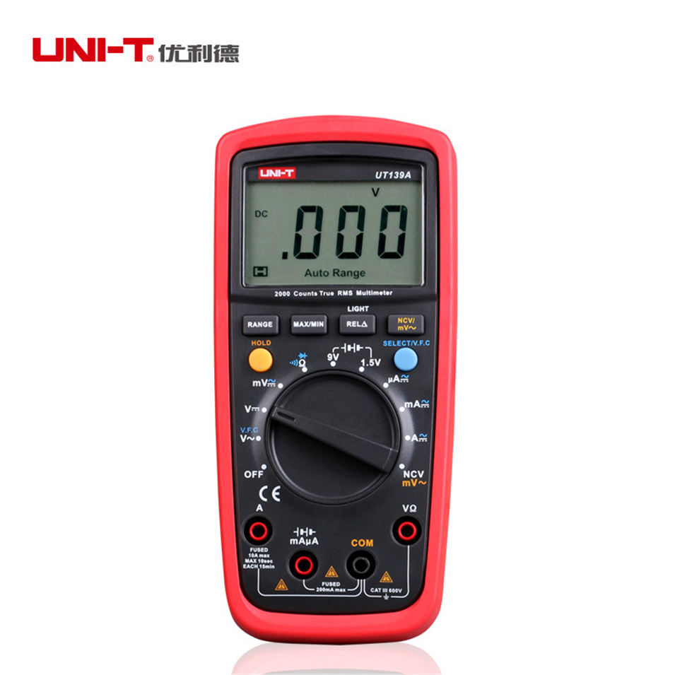 1pcs UNI-T UT139A True RMS Digital Multimeter Auto Range AC/DC Amp/<font><b>Volts</b></font> Ohm Tester with Data Hold, NCV,and <font><b>Battery</b></font> Test image