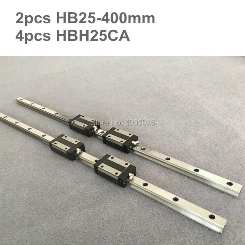HGR 2 pz HB25 400mm Lineari della guida di guida lineare e 4 pz HBH25CA blocchi cuscinetto lineare per le parti CNCHGR 2 pz HB25 400mm Lineari della guida di guida lineare e 4 pz HBH25CA blocchi cuscinetto lineare per le parti CNC