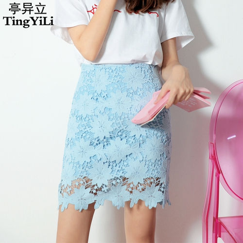 d21f62f0bca6 TingYiLi Pink Blue White Black Lace Pencil Skirts Womens Hollow Out Sexy Mini  Skirt Korean Cute High Waist Short Skirt Girl