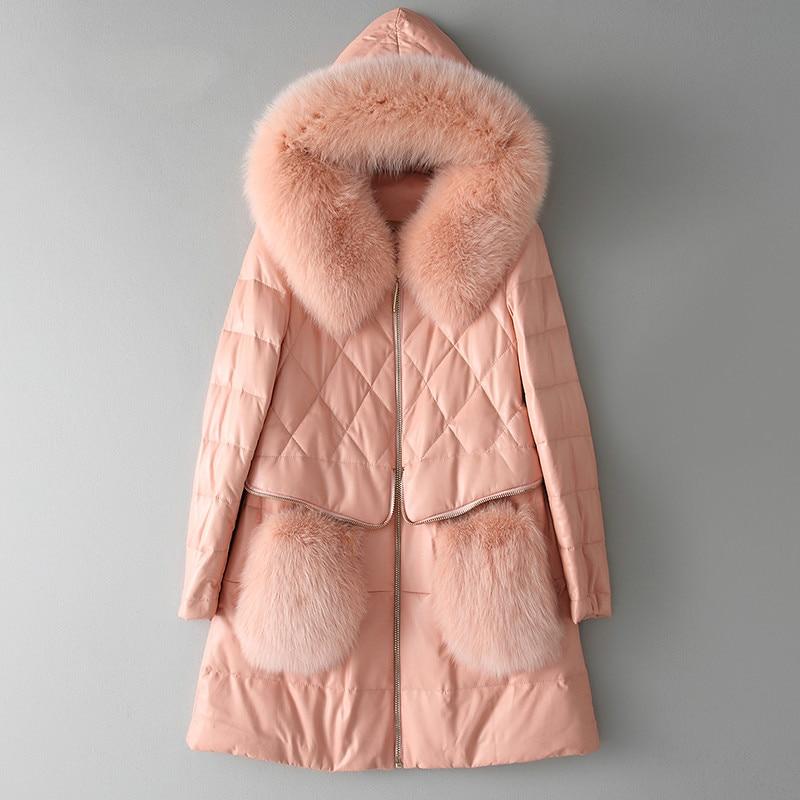 En Véritable 2018 Mouton Veste Réel De Coréen Rose Peau Hiver Automne Vêtements Femmes Zt1634 Renard Cuir Fourrure Vintage Manteau Pink fAdwqf