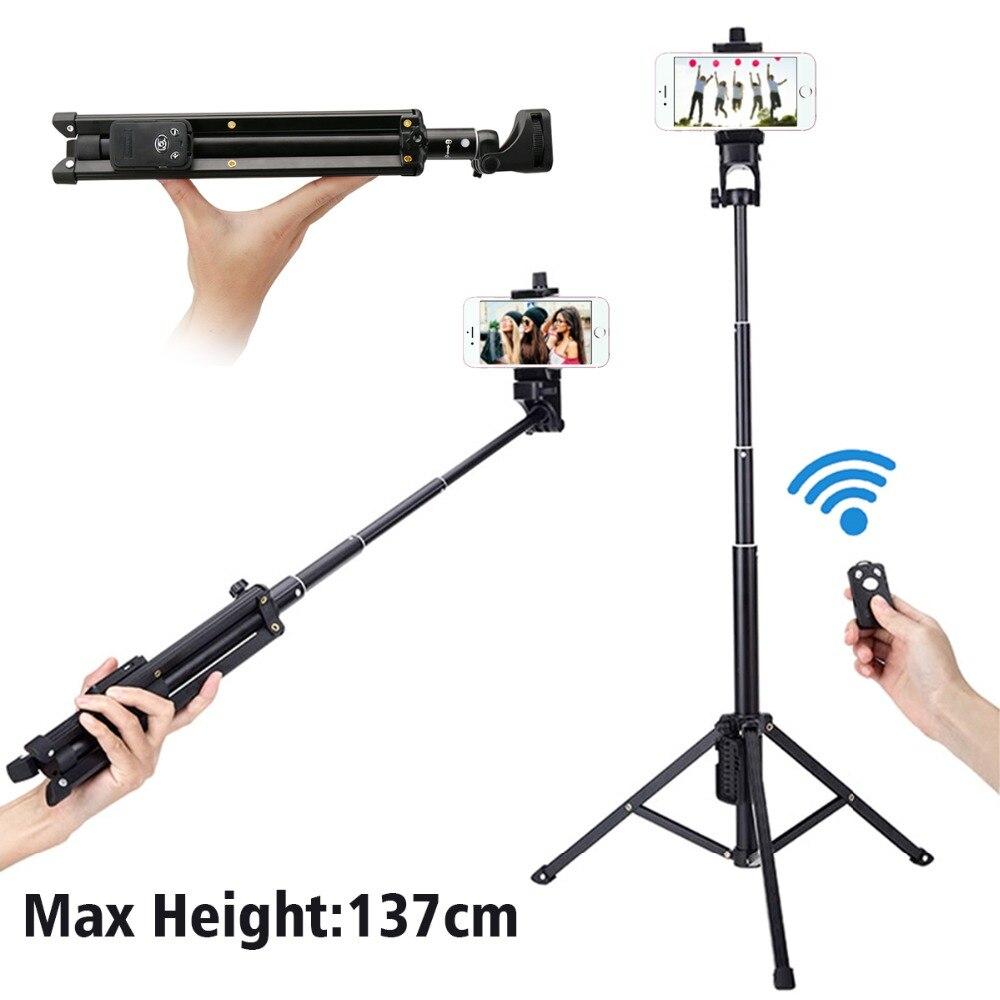 Ulanzi 54 pouce 3 dans 1 Yunteng Selfie Bâton Trépied Stand Super Léger Mini Bluetooth À Distance Monopode Pour Iphone7 6 Samsung